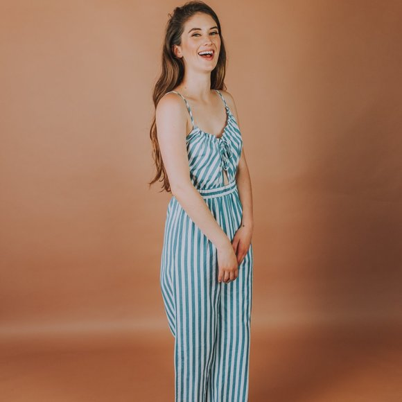 Cotton jumpsuit in blue and white stripe